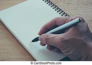 imagem toned, efeito, escrita, nota, caneta, chafariz, retro, enfraquecido