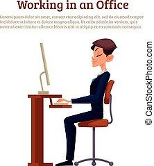 imagem, trabalhador, escritório