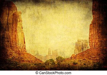 imagem, vale, grunge, paisagem, monumento