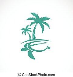 imagem, vetorial, árvore, palmas, tartarugas