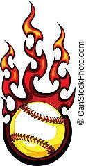 imagem, vetorial, basebol, chamas