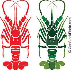 imagem, vetorial, lagosta