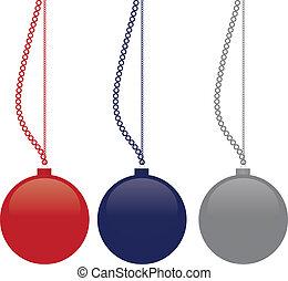 imagem, vetorial, -, natal, bolas