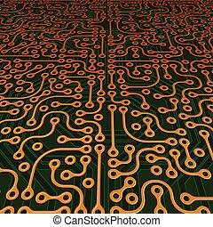 imagem, vetorial, perspectiva, tábua circuito