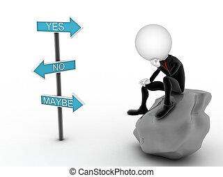 imagen, όχι , σκεπτόμενος , choice., αναποφάσιστος , επιχειρηματίας , ναι , ή , 3d