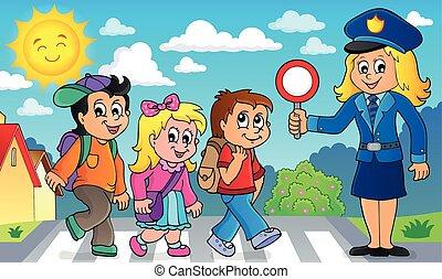 imagen, 2, alumnos, mujer policía