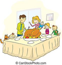 imagen, acción de gracias, día de familia
