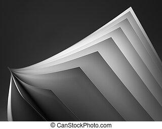 imagen, acción, ventilador papel, negro, -, blanco