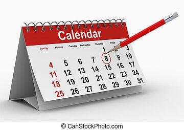imagen, aislado, fondo., blanco, calendario, 3d