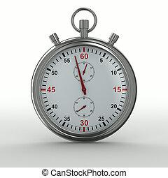 imagen, aislado, fondo., cronómetro, blanco, 3d