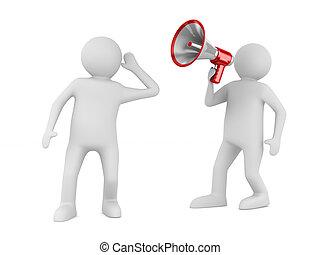 imagen, aislado, megaphone., orador, habla, 3d