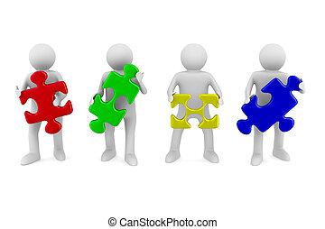 imagen, aislado, teamwork., conceptual, blanco, 3d