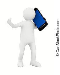imagen, aislado, teléfono, white., hombre, 3d