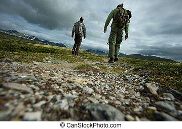 imagen, ambulante, excursionistas, dos