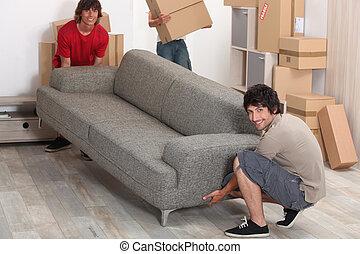 imagen, amigos, mudanza, sofá