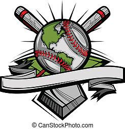 imagen, beisball, global, templa, vector