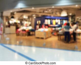 imagen borrosa, de, centro comercial, plano de fondo