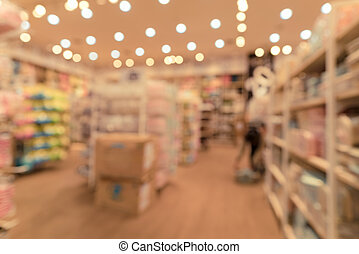 imagen borrosa, de, juguetes, tienda