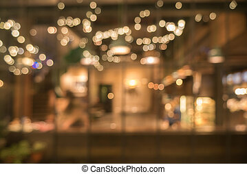 imagen borrosa, de, tienda de café, uso, para, resumen, plano de fondo