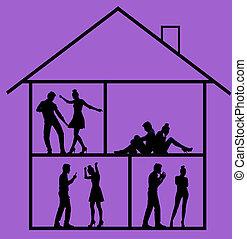 imagen, bosquejo, presentación, casa