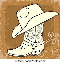 imagen, bota, vector, vaquero, vendimia, hat.
