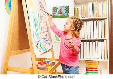 imagen, caballete, Pintura, paisaje, niño