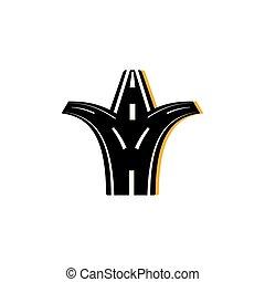 imagen, camino bifurcado, asfalto, plano