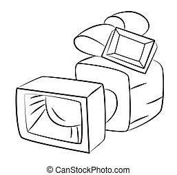 imagen, caricatura, cámara, vídeo, cámara., símbolo