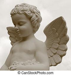 imagen, cementerio, ángel, vendimia