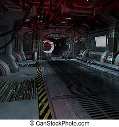imagen, componer, dentro, o, scifi, plano de fondo, nave ...