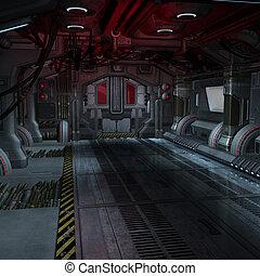 imagen, componer, dentro, o, scifi, plano de fondo, nave espacial, futurista