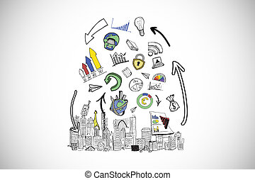 imagen compuesta, análisis, cityscape, doodles, datos,...