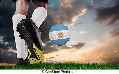 imagen compuesta, de, arranque del fútbol, patear, argentina, pelota