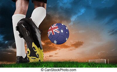 imagen compuesta, de, arranque del fútbol, patear, australia, pelota