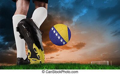 imagen compuesta, de, arranque del fútbol, patear, bosnia, pelota