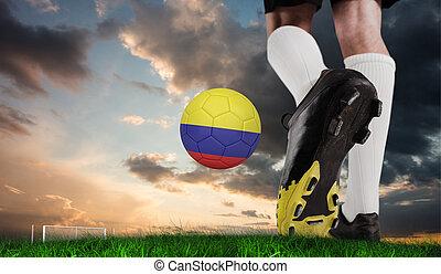 imagen compuesta, de, arranque del fútbol, patear, colombia, pelota
