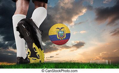 imagen compuesta, de, arranque del fútbol, patear, ecuador, pelota