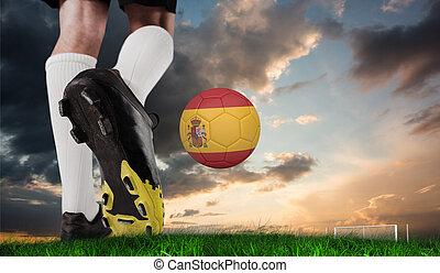 imagen compuesta, de, arranque del fútbol, patear, españa, pelota