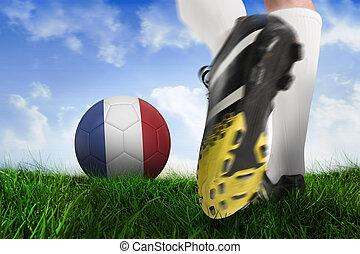 imagen compuesta, de, arranque del fútbol, patear, francia, pelota