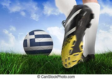 imagen compuesta, de, arranque del fútbol, patear, grecia, pelota