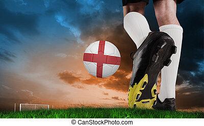 imagen compuesta, de, arranque del fútbol, patear, inglaterra, pelota