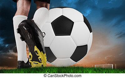 imagen compuesta, de, arranque del fútbol, patear, inmenso, pelota