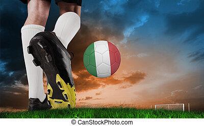 imagen compuesta, de, arranque del fútbol, patear, italia, pelota