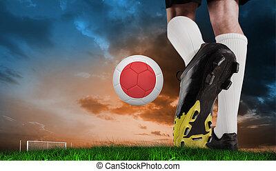 imagen compuesta, de, arranque del fútbol, patear, japón, pelota