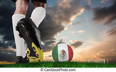 imagen compuesta, de, arranque del fútbol, patear, méxico, pelota