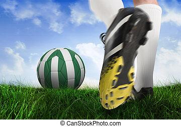 imagen compuesta, de, arranque del fútbol, patear, nigeria, pelota