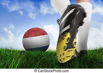 imagen compuesta, de, arranque del fútbol, patear, países bajos, pelota