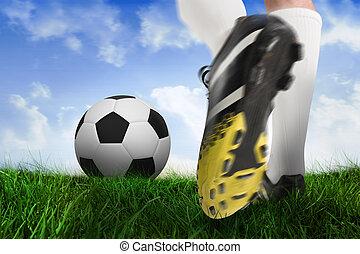 imagen compuesta, de, arranque del fútbol, patear, pelota