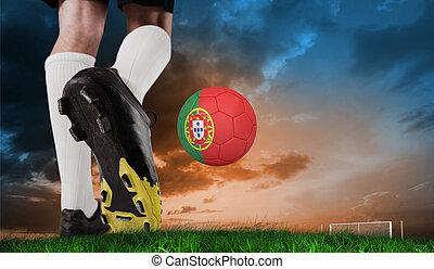 imagen compuesta, de, arranque del fútbol, patear, portugal, pelota