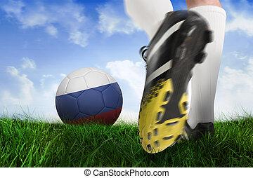 imagen compuesta, de, arranque del fútbol, patear, rusia, pelota